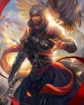 1boy assassin's_creed assassin's_creed:_revelations assassin's_creed_(series) beard bird clouds eagle ezio_auditore_da_firenze facial_hair hood male_focus scarf sky solo weapon yang_fan