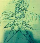 1girl breasts female kos-mos large_breasts long_hair monochrome negresco photo sketch xeno_(series) xenosaga