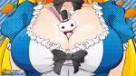 1girl alice_in_wonderland animal blonde_hair breasts cleavage dress hat long_hair rabbit red_eyes ribbons white_rabbit yf