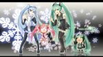 4girls blue_eyes blue_hair cherry cherry_blossoms chibi food fruit green_eyes green_hair hachune_miku hatsune_miku initial_f leek long_hair multiple_girls necktie panties pink_hair sakura_miku scarf snow striped striped_panties thigh-highs tied_hair twintails underwear vocaloid yuki_miku