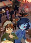 bandaged_head blue_skin chinese_clothes cooking eating fish food furry horns mammoth market meat monster_girl o_o original plate rabbit red_eyes restaurant ruu_bot slit_pupils spoon tail tusks twintails wok