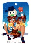 10s 1boy 1girl beanie blue_eyes brown_hair female_protagonist_(pokemon_sm) handheld_game_console hat litten male_protagonist_(pokemon_sm) nintendo nintendo_3ds pokemon pokemon_(game) pokemon_sm popplio powlet projecttiger sitting smile