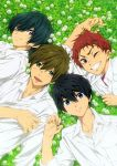 blush high_speed! kirishima_ikuya male_focus nanase_haruka_(free!) nishiya_futoshi official_art shiina_asahi shirt smile tachibana_makoto wink