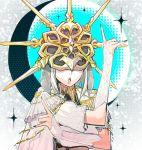 1boy artist_request bishoujo_senshi_sailor_moon crown dark_souls dark_sun_gwyndolin from_software grey_hair mask moon nail_polish open_mouth parody pose souls_(from_software) star tsuki_ni_kawatte_oshioki_yo