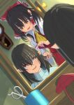 2girls amanoyayuki ascot black_hair bow clock comb combing commentary_request detached_sleeves dutch_angle eyebrows_visible_through_hair hair_bow hair_tubes hairdressing hakurei_reimu hat hat_removed headwear_removed highres mirror multiple_girls open_mouth pointy_ears red_bow red_eyes reflection scissors shameimaru_aya sweatdrop tokin_hat touhou wall_clock wavy_mouth yellow_neckwear