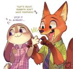 animal_ears claws disney english fox furry judy_hopps kab00m_chuck kaboom-chuck looking_away necktie nick_wilde open_mouth rabbit rabbit_ears signature simple_background tail white_background zootopia