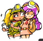 2girls blonde_hair blush dark_skin fang goombella helmet minus8 multiple_girls necktie paper_mario personification ponytail shorts super_mario_bros. toadette white_background wide_hips