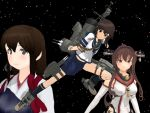 3girls akagi_(kantai_collection) fubuki_(kantai_collection) gengoro_(gengoro-383kei) kantai_collection mikumikudance multiple_girls school_uniform short_hair yamato_(kantai_collection)
