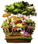 00s 1girl blue_(pokemon) brown_eyes brown_hair fence highres mew poke_ball pokemon pokemon_(game) pokemon_frlg rattata ryanpei sign skirt tree