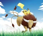 artist_request clouds grass no_humans pikachu pokemon tauros