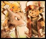 90s anniversary black_hair hat matsuri_(matsuike) mewtwo pikachu pokemon pokemon_(game) pokemon_rgby red_(pokemon) red_(pokemon)_(classic)