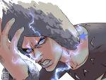 1boy angry birthmark blue_eyes blue_nails clenched_teeth collarbone dated electricity frown grey_hair hand_on_head joestar_birthmark jojo_no_kimyou_na_bouken male_focus nail_polish solo star tariah_furlow teeth upper_body watermark weather_report