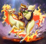 1girl artist_request black_eyes breasts female flame furry gradient gradient_background horse leotard pokemon rapidash red_eyes riding skuntank solo