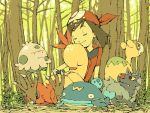 00s 1girl brown_hair closed_eyes combusken forest haruka_(pokemon) mochihada numel outdoors pokemon pokemon_(game) pokemon_rse poochyena shroomish sleeping trees whiscash