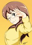 1girl absurdres aikiyun black_eyes brown_hair glasses gradient gradient_background highres keita's_mother long_hair looking_at_viewer one_eye_closed orange_background smile solo upper_body yellow_background youkai_watch