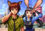 1boy 1girl ahoge animal_ears black_hair brown_hair bunny_tail chest_protector disney eyebrows fox_ears green_eyes hawaiian_shirt highres huge_ahoge humanization judy_hopps necktie nick_wilde police police_badge police_uniform policewoman portrait rabbit_ears ryu_shou shirt short_hair tail twintails uniform v violet_eyes zootopia