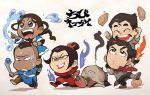 2girls 4boys avatar:_the_last_airbender azula black_hair blue_eyes blue_fire bolin brother_and_sister brothers burnt dark_skin fire hair_bun katara mako_(avatar) multiple_boys multiple_girls piggyback running scarf siblings sokka sword t_k_g the_legend_of_korra water wet yellow_eyes zuko