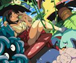 1girl black_hair breasts brown_eyes caterpie erika_(pokemon) exeggcute exeggutor gym_leader hairband japanese_clothes kimono licking oddish pokemon tangela tongue tongue_out venusaur victreebel vileplume yoshitora