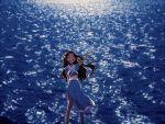 1girl avatar:_the_last_airbender dark_skin katara looking_at_viewer ocean smile solo t_k_g water