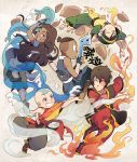 aang asymmetrical_clothes avatar:_the_last_airbender bald blue_eyes boomerang brown_hair dark_skin fire katara rock scar sokka t_k_g tattoo toph_bei_fong water wind zuko
