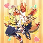 1girl blonde_hair braixen breasts elinn_(pokemon) female nintendo pokemon pokemon_(game) pokken_tournament smile tm_(hanamakisan)