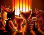 cat cosmo_(pixiv12140406) espurr from_behind glameow lamp meowth no_humans pokemon purrloin skitty sneasel