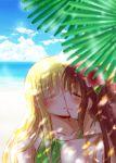 2girls blonde_hair blue_sky blush brown_hair closed_eyes couple fate_testarossa kiss long_hair lyrical_nanoha mahou_shoujo_lyrical_nanoha mahou_shoujo_lyrical_nanoha_strikers multiple_girls nanashiki sea takamachi_nanoha water yuri