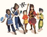 2boys 3girls aang avatar:_the_last_airbender brown_hair cape choker dark_skin full_body genderswap hand_on_hip katara magic multiple_boys multiple_girls sokka staff t_k_g toph_bei_fong water wrist_cuffs zuko