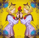 2girls aqua_eyes aqua_flower arched_back black_bow blonde_hair bow dress dual_persona flower hair_ornament hairband hairclip haun highres holding holding_ribbon kagamine_rin kyoufu_garden_(vocaloid) long_sleeves looking_at_viewer looking_to_the_side multiple_girls pleated_dress ribbon sailor_collar sailor_dress short_hair sketch smile symmetry thigh-highs vocaloid yellow_background zettai_ryouiki