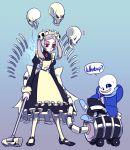 1girl bloody_marie_(skullgirls) crossover papyrus_(undertale) red_eyes sans skullgirls solo twintails undertale vacuum