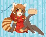 1girl brown_eyes chinese_clothes dress female full_body furry open_mouth red_eyes red_panda solo toraneko_(38)