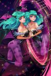 1girl aqua_hair ass bat_print blue_eyes boots breast_press breasts capcom cleavage clone eyeshadow green_hair head_wings high_heel_boots high_heels highres large_breasts leotard long_hair looking_at_viewer makeup morrigan_aensland nail_polish oskar_vega pantyhose print_legwear reflection symmetrical_docking vampire_(game)
