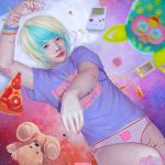 1boy 90s androgynous aqua_hair artist_name bandaid bandaid_on_knee blonde_hair blurry bracelet cat cowboy_shot cuts depth_of_field digital_media_player earphones english food furby game_boy handheld_game_console highres injury jewelry lips looking_at_viewer male_focus multicolored_hair nail_polish nasal_cannula no_pants original panties pillow pink_nails pizza rabbit realistic short_hair slice_of_pizza solo stuffed_animal stuffed_toy tamagotchi teddy_bear two-tone_hair ulrik underwear x_x