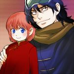 1boy 1girl 3mm blue_eyes blush father_and_daughter gintama kagura_(gintama) short_hair smile umibouzu_(gintama)