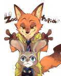 1boy 1girl blue_eyes disney fox green_eyes inumimi-syndrome judy_hopps nick_wilde police police_uniform rabbit uniform zootopia