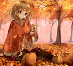 1girl animal arm_up autumn blonde_hair blurry blush boots breasts button cape cross-laced_footwear female fog forest fringe fur hamaru head_tilt lacing leaf leaves looking_away nature original pantyhose plaid plaid_skirt plant pleated_skirt red_eyes short_hair sitting sitting_on_person skirt smile solo squirrel sunlight tree