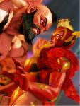 1boy 1girl 3d alternate_costume capcom mask muscle rainbow_mika street_fighter street_fighter_v wrestling_outfit zangief