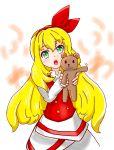 1girl aqua_eyes artist_request blonde_hair ellen long_hair stuffed_toy teddy_bear touhou touhou_(pc-98)