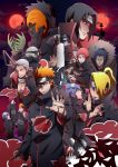 1girl 6+boys akatsuki_(naruto) amber_eyes black_hair blonde_hair blue_eye blue_hair closed_eyes deidara eyebrows eyeshadow fingernails fingers forehead forehead_protector glove gold_eyes green_eye green_hair hair_over_one_eye hands headband hidan hoshigaki_kisame jewelry kakuzu kirigakure_symbol konan konohagakure_symbol makeup mask moon multiple_boys nagato_(naruto) nail_polish naruto naruto_shippuuden necklace orange_hair pain_(naruto) pain_(tendo) paper piercing red_eyes red_moon redhead rinnegan sasori sharingan short_hair silver_hair spiky_hair teeth third_kazekage tobi tongue uchiha_itachi uchiha_obito violet_eyes weapon yahiko_(naruto) zetsu