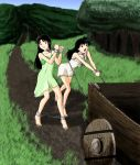 2girls absurdres barefoot bdsm black_hair bondage bound bound_ankles bound_wrists brown_eyes cart chains collar cuffs dirty_feet grass highres higurashi_kagome inuyasha leash leash_pull long_hair multiple_girls nightgown outdoors rocatr88 sango shackles slave