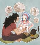 1girl 2boys animal barefoot bent_knees black_hair blue_hair cat closed_eyes couple earrings fairy_tail gajeel_redfox headband heart hearts jewelry levy_mcgarden long_hair multiple_boys open_mouth pantherlily pantyhose pillow pregnant rusky-boz shirt short_sleeves simple_background sitting smile t-shirt tail teeth zzz