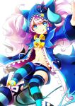 1girl chiliarch_(elsword) elsword horns kuroshio_maki luciela_r._sourcream pigtails pink_hair solo striped thigh-highs