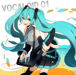 1girl al_(arupaka) aqua_nails black_legwear black_skirt blue_eyes blue_hair breasts collar detached_sleeves exposed_shoulders female guitar hatsune_miku holding_instrument instrument keytar long_hair long_sleeves looking_at_viewer musical_instrument nail_polish necktie neckwear numbers open_mouth playing_instrument pleated pleated_skirt pointing shirt skirt sleeveless sleeveless_shirt small_breasts smile solo strap string text thigh-highs tie_clip twintails vocaloid white_background wires zettai_ryouiki