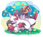 fang fangs flower grass halftone no_humans noni-nani pokemon seviper simple_background tree white_background zangoose
