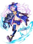 1girl artist_request blue_eyes chiliarch_(elsword) crown elsword female full_body horns luciela_r._sourcream pigtails solo thigh-highs white_background white_hair young