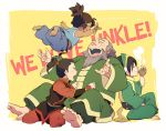 2boys 2girls avatar:_the_last_airbender beard drinking korra midair multiple_boys multiple_girls ponytail t_k_g tea the_legend_of_korra time_paradox toph_bei_fong younger zuko