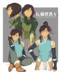 1girl alternate_costume alternate_hairstyle avatar:_the_last_airbender blush dark_skin korra muito multiple_views the_legend_of_korra