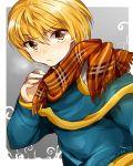 1boy alternate_costume blonde_hair blush hunter_x_hunter kurapika scarf
