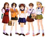 5girls 90s adjusting_hair bag blazer blonde_hair blue_eyes blue_skirt book brown_eyes brown_footwear brown_hair dated glasses green_skirt hair_ribbon hairband hand_on_hip hand_to_head holding holding_book holding_briefcase idol_mahjong_final_romance_2 jacket kneehighs long_hair long_sleeves looking_at_viewer multiple_girls necktie official_art plaid plaid_skirt pleated_skirt red_eyes red_skirt redhead ribbon school_briefcase school_uniform shoes short_hair short_sleeves shoulder_bag simple_background skirt smile sneakers socks standing sugiyama_genshou twintails updo v vest white_background white_legwear