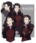 1girl asami_sato avatar:_the_last_airbender black_hair looking_at_viewer makeup muito multiple_views the_legend_of_korra wavy_hair